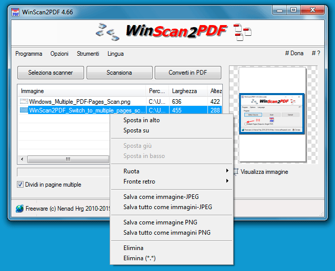 WinScan2PDF pagine multiple