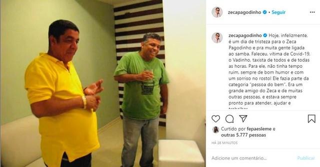 Zeca Pagodinho sofre terrível perda - Foto Reprodução