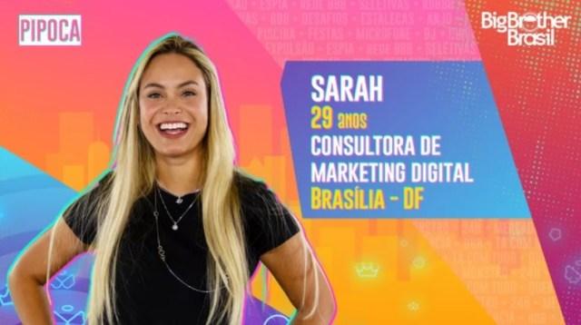 Enquete BBB21: quem Sarah deve indicar ao Paredão? Vote!