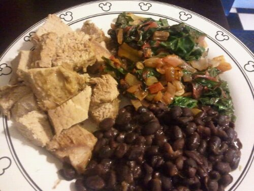 Pernil with greens and black beans
