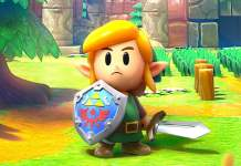 A cartoon version of Link with his Shield
