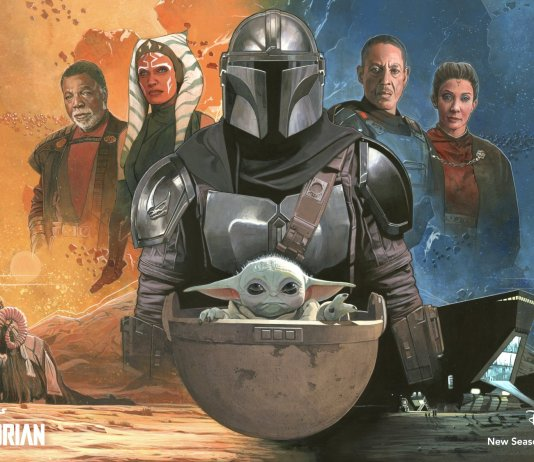 The Mandalorian Art piece with Mando and Grogu in the front and other characters