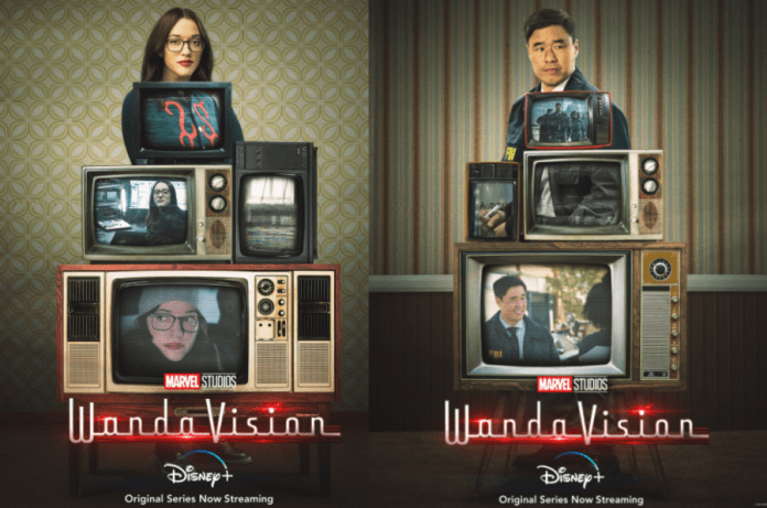 Two WandaVision Posters. One featuring Darcy Lewis with televisions and one featuring Jimmy Woo with Televisions