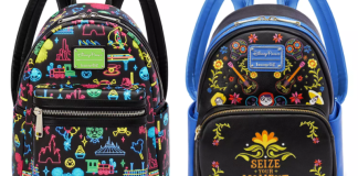 Two brightly decorated backpacks. One features Disney theme park attraction icons and one features icons from the film Soul