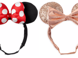 Minnie mouse ear headbands with adjustable straps. One is done in classic Minnie Mouse styling and one is shimmer rose gold.