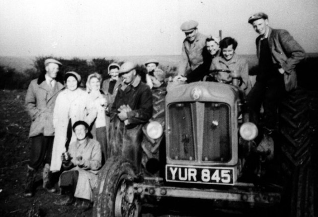 Late 1950s  Tractors like this Fordson Major were started on petrol, but run on paraffin. L-R: Stan Walker, Nellie Walker, ?,Patty Pickering, Phil Walker, Minnie Males in front, Ken Walker,?, Johnny Kingsley, Betty Titmus, Ann Bennet and Alan Walker. Tractors shortened the working day – it was no longer necessary to walk the horses through the village pond to clean them, and more importantly to wet the cart wheels to stop them shrinking and shedding their iron rims.