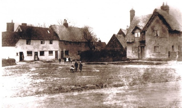 Three gables on the right circa 1900.