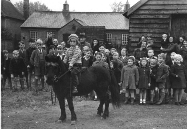 Derek enjoyed riding his pony.