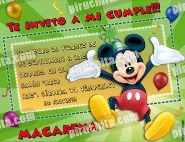 Invitación cumpleaños Mickey y sus amigos #05-0