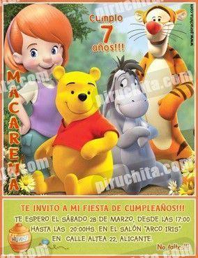 Invitación cumpleaños Winnie Pooh #12-0