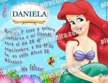 Invitación cumpleaños La Sirenita #01-0