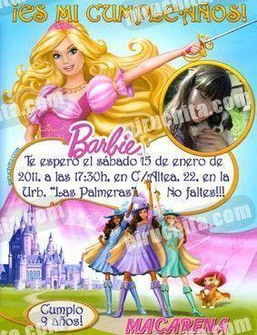 Invitación cumpleaños Barbie #2-0