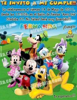 Invitación cumpleaños La Casa de Mickey #06-0
