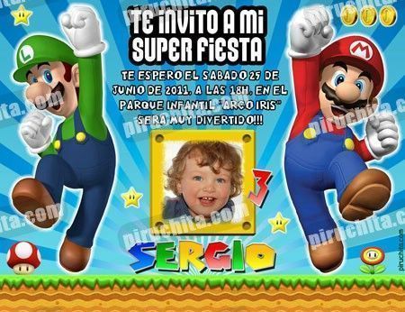 Invitación cumpleaños Mario Bros #03-0