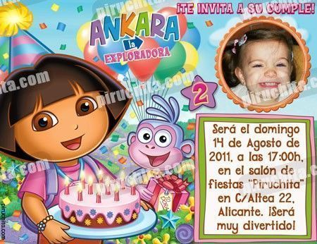 Invitación cumpleaños Dora la Exploradora #10-0