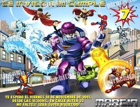 Invitación cumpleaños Super Heroes Squad #02-0