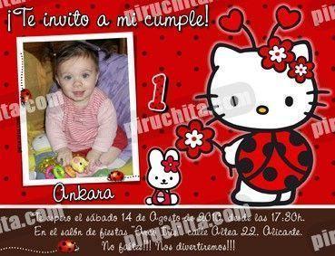 Invitación cumpleaños Hello Kitty #16-0