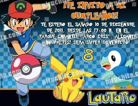 Invitación cumpleaños Pokemon #03-0