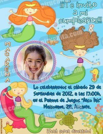 Invitación cumpleaños Sirenas #02-0