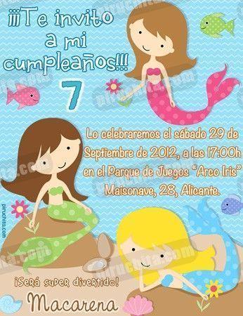 Invitación cumpleaños Sirenas #04-0