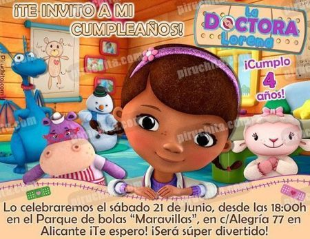 Invitación cumpleaños La Doctora Juguetes #02-0