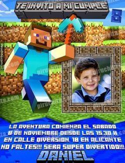 Invitación cumpleaños Minecraft #01-0