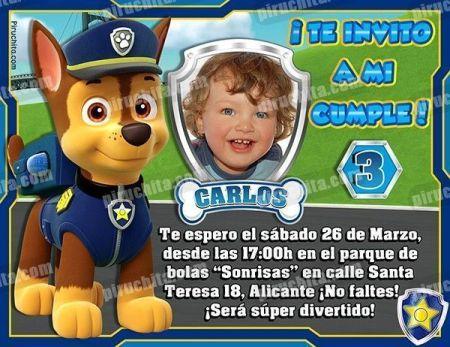 Invitación cumpleaños La Patrulla Canina #07-0