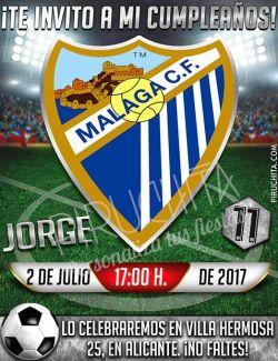 Invitación cumpleaños Fútbol - Málaga | Digital Imprimible