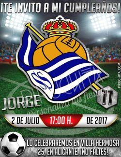 Invitación cumpleaños Fútbol - Real Sociedad | Digital Imprimible