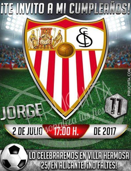 Invitación cumpleaños Fútbol - Sevilla | Digital Imprimible