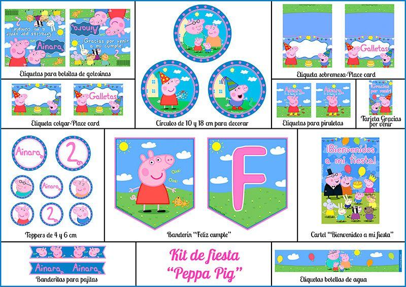 Decoración fiesta de cumpleaños Peppa Pig para imprimir