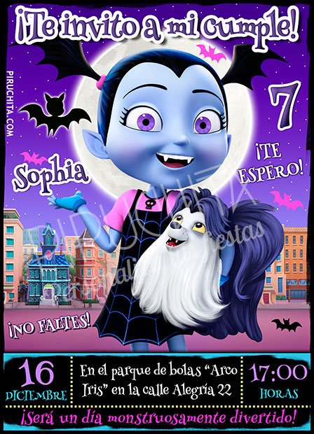 Invitación cumpleaños Vampirina #03 | Digital Imprimible