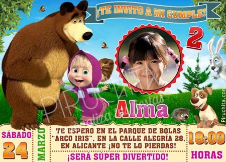 Invitación cumpleaños Masha y el Oso #02 con Foto | Digital Imprimible