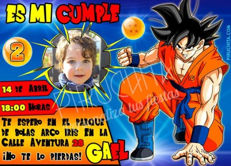 Invitación cumpleaños Dragon Ball #03 con Foto | Digital Imprimible
