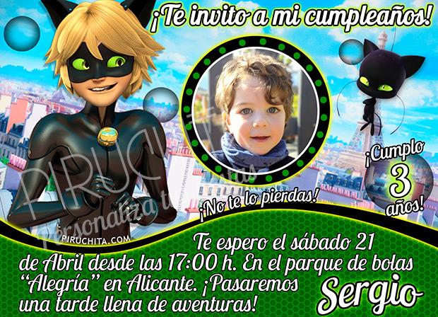 Invitación cumpleaños Ladybug / Cat Noir #05 con foto   Digital Imprimible