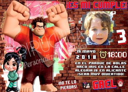 Invitación cumpleaños Rompe Ralph #02 con Foto | Digital Imprimible