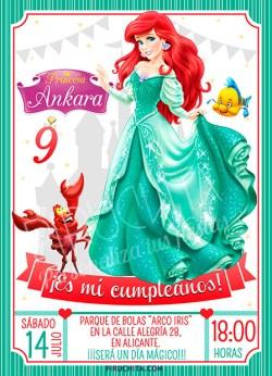 Invitación cumpleaños La Sirenita #02   Digital Imprimible