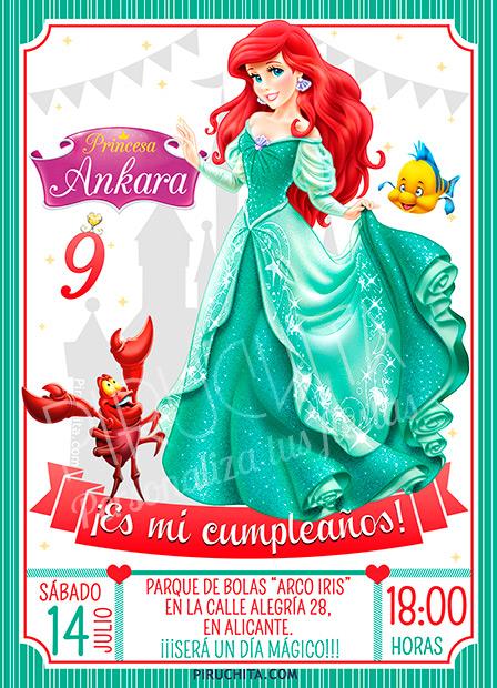 Invitación cumpleaños La Sirenita #02 | Digital Imprimible