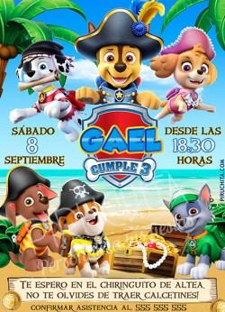 Invitación cumpleaños La Patrulla Canina Piratas #01 | Digital Imprimible