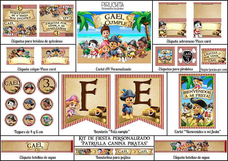 Decoración fiesta de cumpleaños La Patrulla Canina Piratas para imprimir