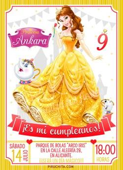 Invitación cumpleaños La Bella y la Bestia #02   Digital Imprimible