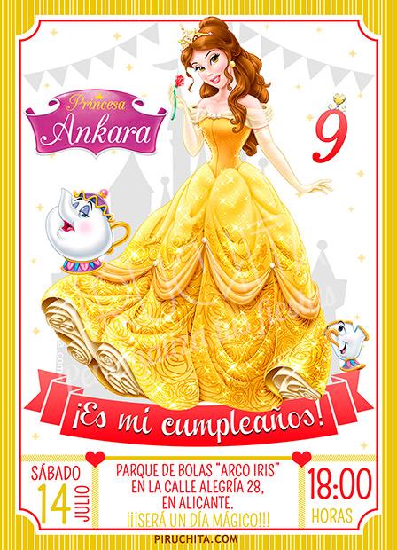 Invitación cumpleaños La Bella y la Bestia #02 | Digital Imprimible