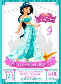 Invitación cumpleaños Jasmine - Aladdin #01 | Digital Imprimible