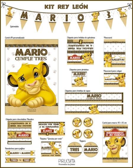 Decoración fiesta de cumpleaños El Rey León para imprimir