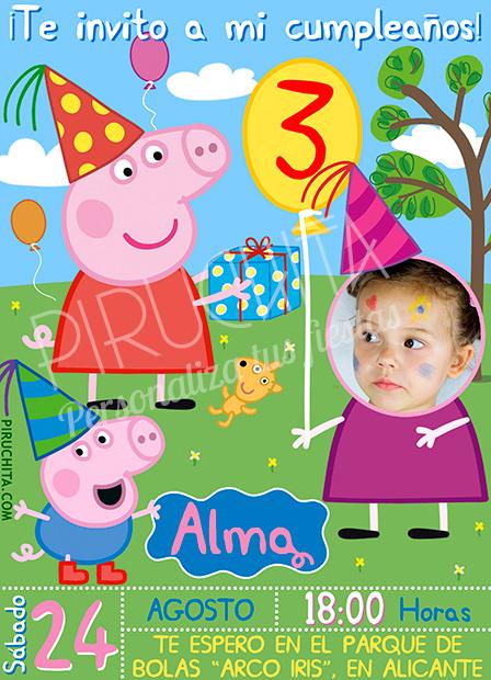 Invitación cumpleaños Peppa Pig #02 con Foto | Digital Imprimible