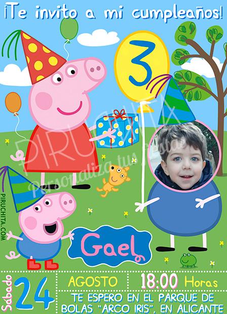 Invitación cumpleaños Peppa Pig #03 con Foto | Digital Imprimible