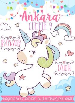 Invitación cumpleaños Unicornios #02   Digital Imprimible