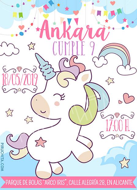 Invitación cumpleaños Unicornios #02 | Digital Imprimible