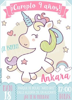Invitación cumpleaños Unicornios #04   Digital Imprimible