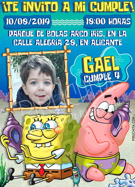 Invitación cumpleaños Bob Esponja y Patricio #05 con Foto | Digital Imprimible
